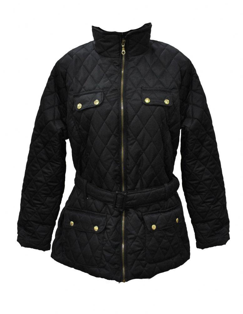 Ladies Plus Size Black Quilted Jacket